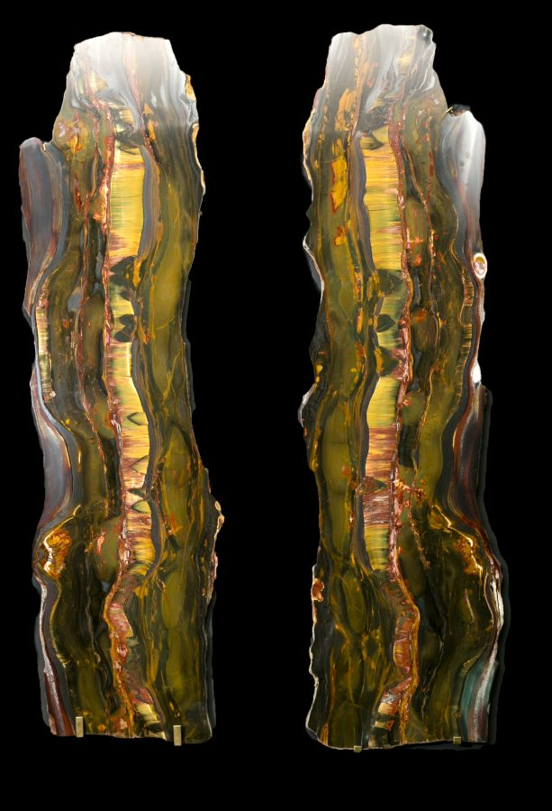 1. Tiger Eye Slabs H122 W32 D1.5cms £14,500 each