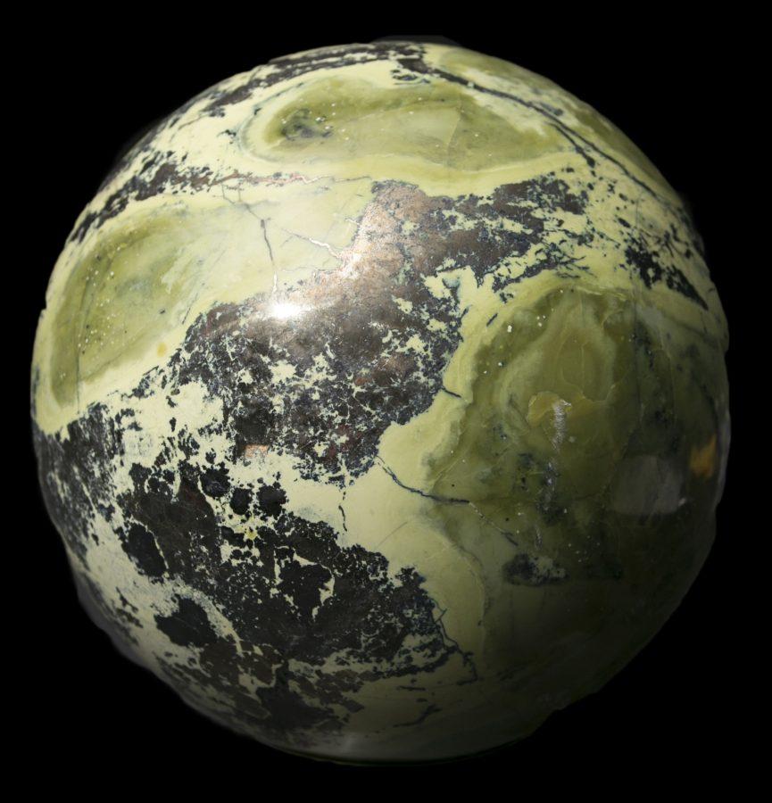 11.Serpentine Pyrite Sphere.2 Dia 20cms £3k